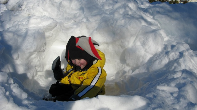 sittin in the snow fort